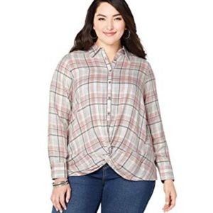 Front Knot silver/pink Plaid plus size top 26w 28w